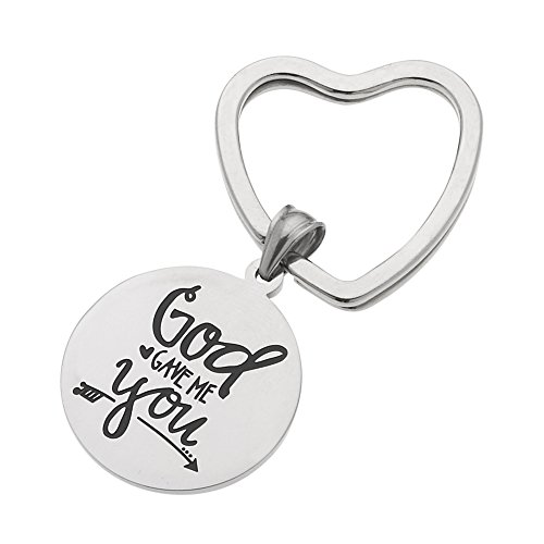 """High Polished Stainless Steel """"God Gave Me You"""" Inspirational Keychain"""