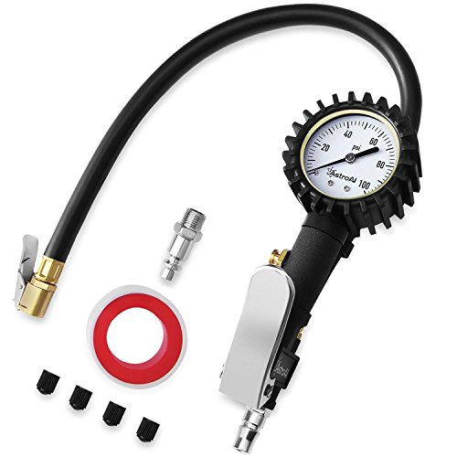 AstroAI Tire Inflator with Pressure Gauge, 100 PSI Air Chuck Compressor Accessories Mechanical Heavy Duty with Rubber Hose and Quick Connect Coupler