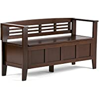 Simpli Home Adams Solid Wood Entryway Storage Bench, Medium Rustic Brown