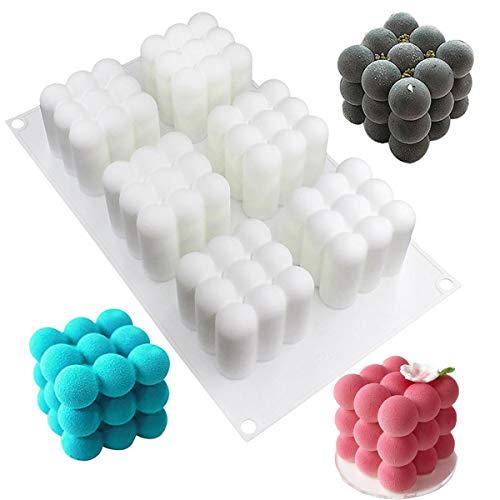 ARHSSZY 1PC Baking White Square Silicone 3D Magic cube Bubble Mold Mousse Cake Mould Dessert Chocolate Decorating Tools