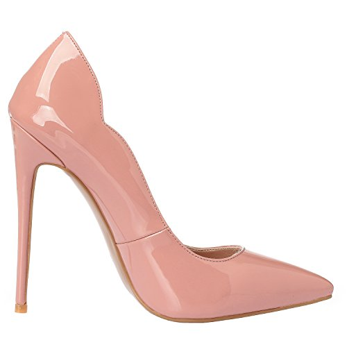 Beige Stilettos Leather Heels Pink Zabsolute Shoes Sexy Point Toe ZAPROMA Patent Luxury High Pumps Women's Comfortable SfYw7Z6