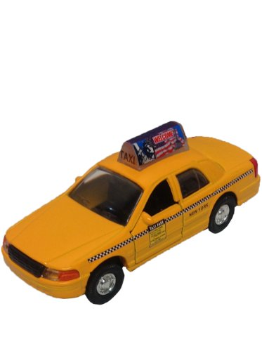 Nyc Checkered Taxi Cab Die Cast Metal Scale 1:32 With a Welcome Sign on It