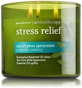 Bath & Body Works, Aromatherapy Stress Relief 3-Wick Candle, Eucalyptus Spearmint
