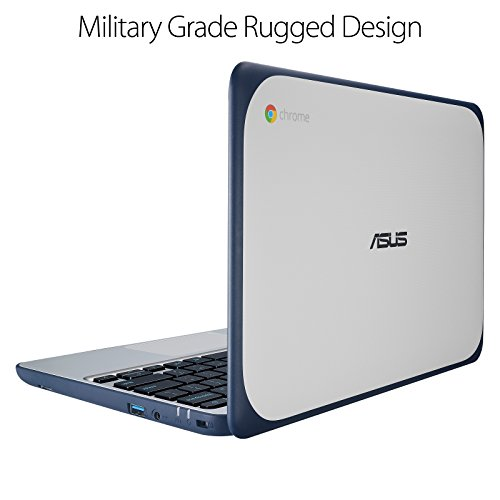 "ASUS Chromebook C202SA-YS02 11.6"" Ruggedized and Water Resistant Design with 180 Degree (Intel Celeron 4 GB, 16GB eMMC, Dark Blue, Silver)"