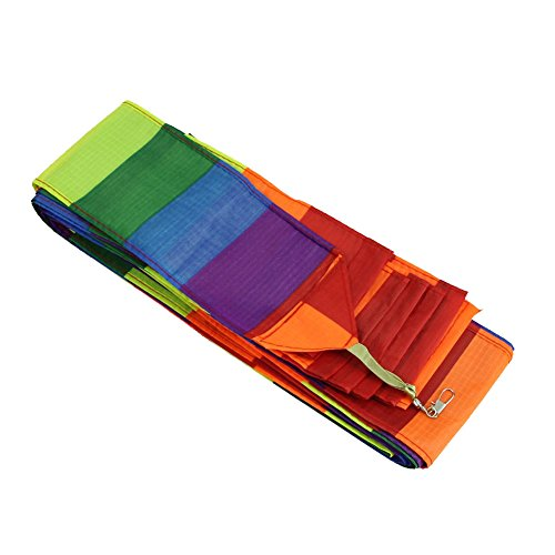 SODIAL Super Nylon Stunt Kite Tail Rainbow Line Kite Accessory Kids Toy ()