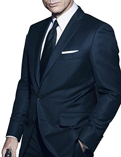 [Class Jackets James Bond Costume Ideas Navy Sharkskin Outwear Suit For Men 2XL] (Bond Costumes Ideas)