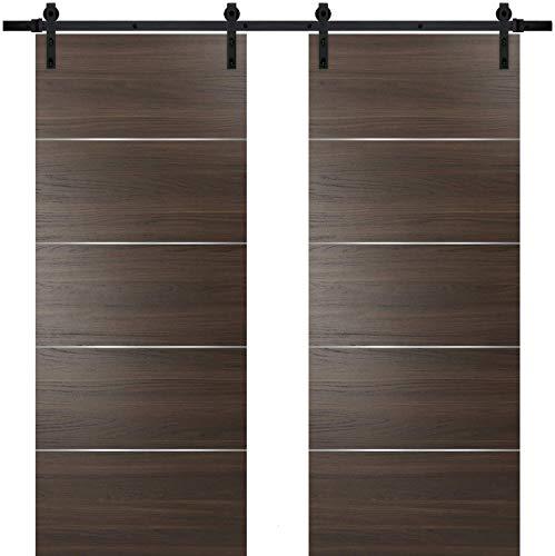 Double Barn Sliding Brown Doors 60 x 96 with 13FT Rails | Planum 0020 Chocolate Ash | Heavy Top Mount Track Slider Set…