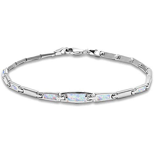Bezel Style Lab Created Opal .925 Sterling Silver Bracelet White or Blue Available (Lab Created White (Silver Created Opal Bracelet)