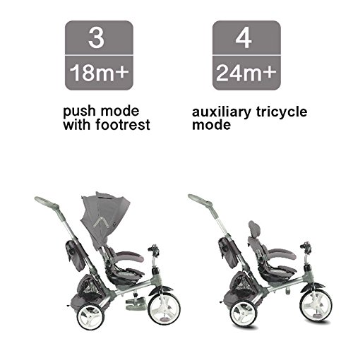 Kiddi-o by Kettler 6-in-1 Ride: Safe Stroller and Multi-Trike, Gray, Youth Ages 2.5+ by Kiddi-o (Image #3)