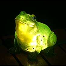 TIAAN 157807 Solar Powered Outdoor LED Light Garden Decor, Frog with LED Glowing Shells