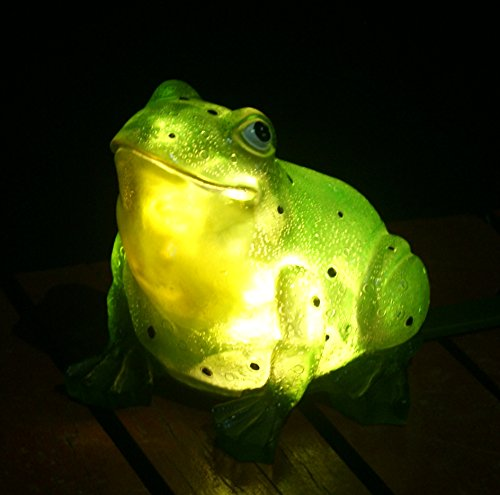 (TIAAN 157807 Solar Powered Outdoor LED Light Garden Decor, Frog with LED Glowing Shells)