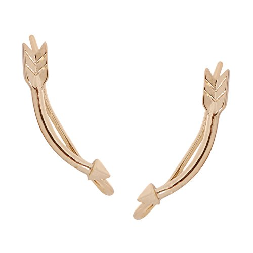 Women's Arrow Costume (Humble Chic Arrow Ear Climbers - Curved Spike Crawler Stud Jacket Cuff Earrings, Gold-Tone)