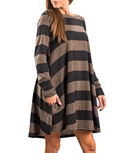 Leggings Tunic Casual with Sleeve Multicolor Striped Swing OLYR Women's 06 Shirt Dress Long for Shirt Black Pockets wBxIqz