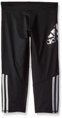 adidas Girls' Big Capri Legging, Black, M (10/12) (Adidas Girls Sportbands)