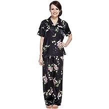 Sunrise Women's Short Sleeve Classtic Satin Pajama Set