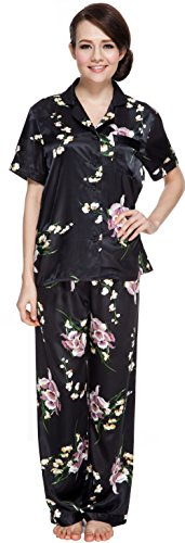 Sunrise Women's Short Sleeve Classtic Satin Pajama Set (Medium, Black)