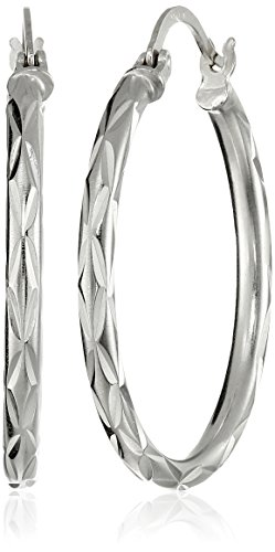 - Sterling Silver 2.5x30 Starburst Diamond-Cut Click Top Hoop Earrings