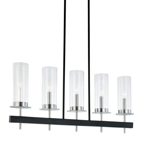Sonneman 4065.54, Tuxedo Glass 1 Tier Chandelier Lighting, 5 Light, 100 Watts, Chrome/Black
