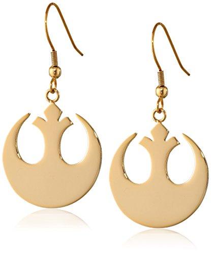 Symbol Earrings - Star Wars Jewelry Rebel Alliance Gold IP Stainless Steel Dangle Hook Drop Earrings (SALES1SWMD)