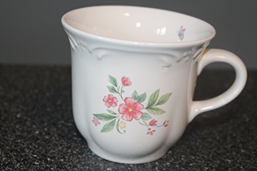 Meadow Lane by Pfaltzgraff Set of 2 Flat Cups Stoneware, Floral Sprays On Rim Discontinued. Actual: 1992 - 2007