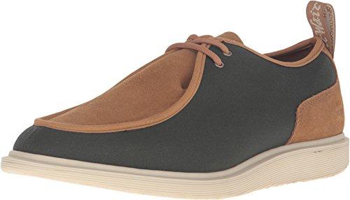 Dr. Martens Men's Leverton 2 Eye Moc Toe Shoe,Army Green/Biscuit 12oz Waxy Canva