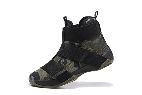 Men's Women's Air Zoom Basketball Shoe Soldier 10 Basketball Trainers Sneaker camo black US12 (Lebron Zoom Soldier 10 Black And Gold)