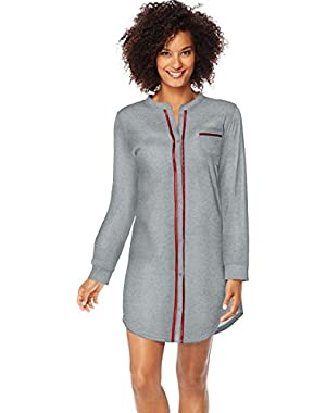 Hanes Womens Ultimate Mandarin Collar Sleep Shirt