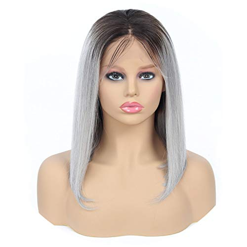 Nature Color Lace Front Human Hair Wig 613 Bob Wigs Malaysian Remy Short Lace Front Wigs,T1B- Gray,14inches,13x4 Frontal Wigs ()