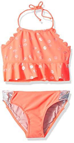 (Limited Too Big Girls' Shell Printed Tankini with Ruffles, Coral,)