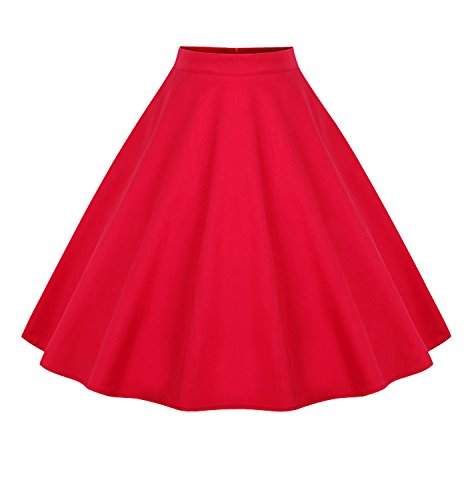 Killreal Women's Classic High Waisted Flared Christmas Party Swing Skirt Red Small (Red Circle Full)