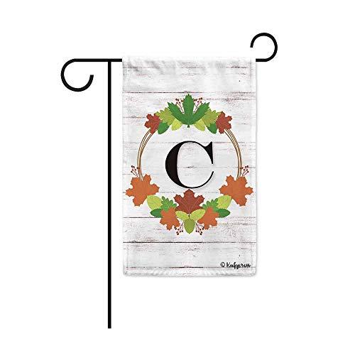 Kafepross Welcome Fall Wreath Monogram C Decorative Garden Flag Maple Leaf Initial Letter Wooden Decor Banner for Outside 12.5
