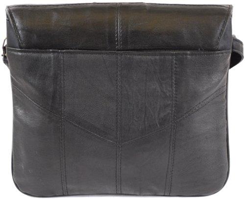 Ladies Black Brown Leather Dark Nappa Shoulder Tan Black Cross Body Super Bag Bag Soft qBqrawp6