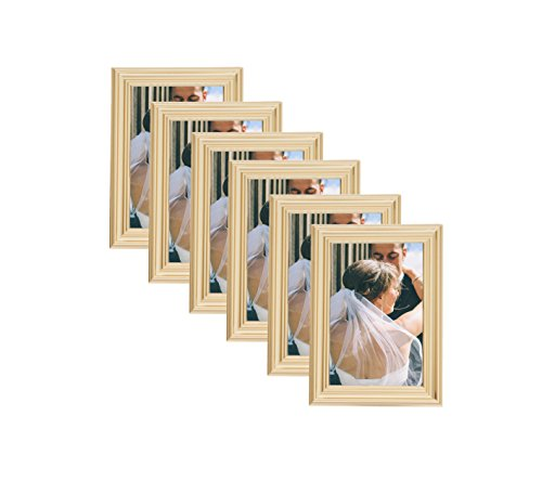 Plated Gold Picture Frames (6 pc) Display with Photo Glass Front, Easel Back, Hanging Clip (Set of 6, 5x7) (Easel Gold Frames)
