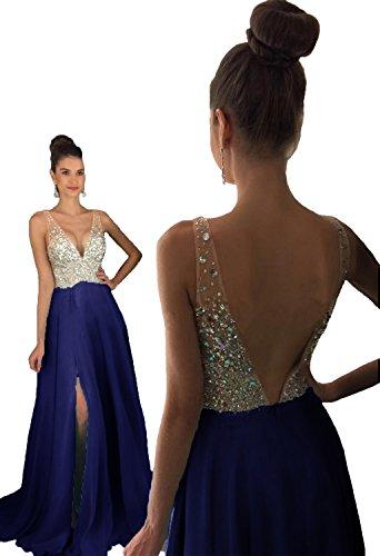 HEAR Women's V Neck Long Prom Dresses Backless Party Evening Dress Hear051 Navy 10