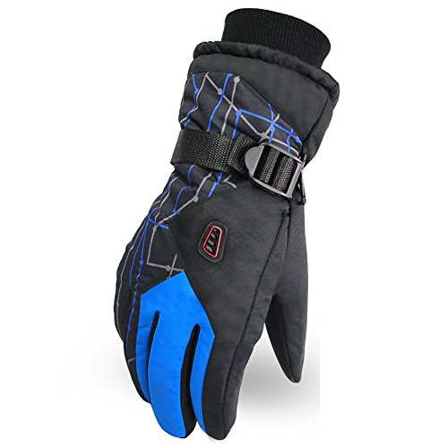 MaxMaxi Waterproof Windproof Non-skid Wear-resisting Ski Glove Snowboard, Snowmobile, Cycling, Motorcycle Outdoor Sports Activities Adults Unisex Gloves (Men, Deep Blue/BL)