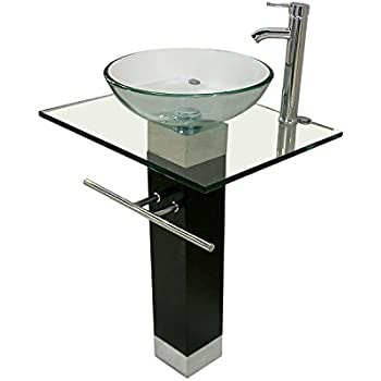 Belvedere Modern Bathroom Vanity Tempered Glass Sink With Chrome Faucet, 23  Inches