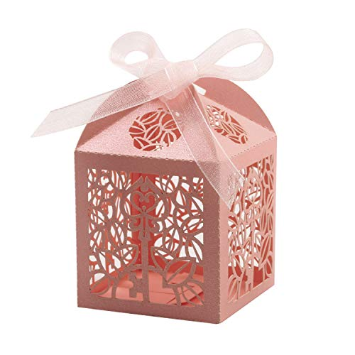 KPOSIYA 100 Pack Party Favor Boxes, Key Deign Laser Cut Boxes Wedding Favor Boxes Gift Candy Box with Ribbons for Baby Shower Favors Bridal Shower Birthday Party Wedding Decorations (Pink, 100)