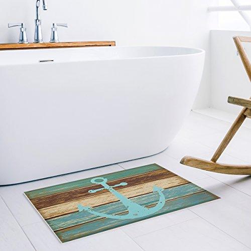 HomeCreator Bathroom Rug, Vintage Retro Nautical Anchor Rustic Wood Bath Mat- Turquoise and Brown Non-slip Soft Absorbent Indoor Bedroom Mat Kitchen Floor Carpet 18 x 30 Inch