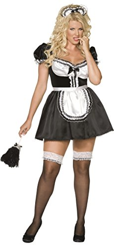 Plus Size French Maid Costume Uk (Smiffy's Women's French Maid Costume, Dress, Apron and Headband, Around the World, Serious Fun, Plus Size 18-20, 30381)