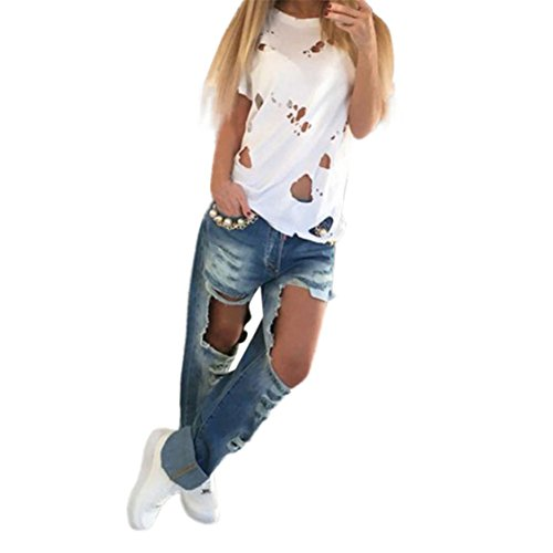 Price comparison product image Nation Womens Hole Ripped Short Sleeve O-neck Shirt Loose Casual T-Shirt Top (M,  White)