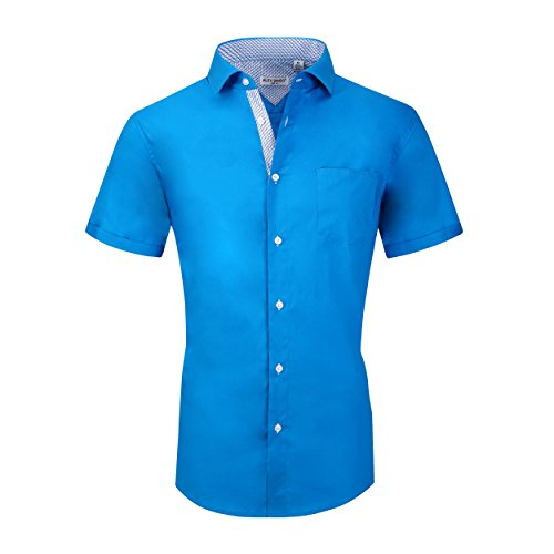 Turquoise Cotton Spandex - Alex Vando Mens Dress Shirts Cotton Poplin Spandex Short Sleeve Regular Fit Casual Spread Collar Shirt(Turquoise,X Large)