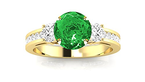 14K Yellow Gold Channel Set 3 Three Stone Diamond Engagement Ring with a 1 Carat Emerald Heirloom Quality Center