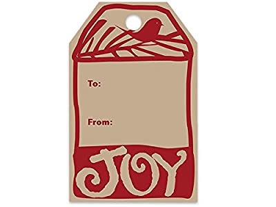 "Woodcut Christmas Printed Gift Tags 2-1/4""x3-1/2"" (10 Packs; 50 Tags Per Pack) - WRAPS-PTWC"
