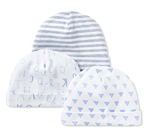 LAMAZE Organic Baby Baby Pure Organic Cotton Boys Hats, 3 Pack, Blue, 0-3M