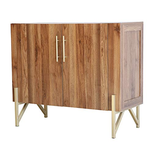 Roomfitters Mid Century Side Board, Dining Room Server, Credenza, Side Board, Buffet, Elegant Walnut Finish with Gold Legs