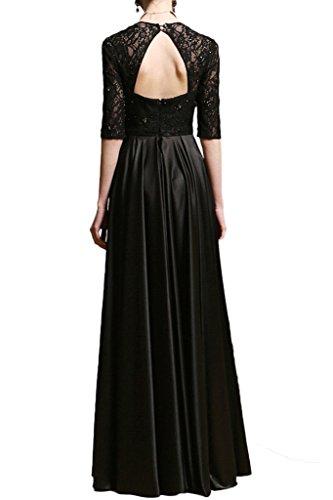 Promgirl House Elegant Schwarz Spitze A-Linie Ballkleider Abendkleider Lang mit Aermel Festkleider Damen 2015