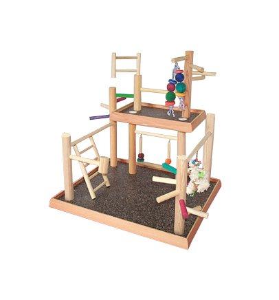 BirdsComfort Two Levels Bird Play Gym, Bird Activity Center, Wood Tabletop Playpen for Cockatiels - Base: 20'' x 18'' , Overall Height: 22'' - 2 levels