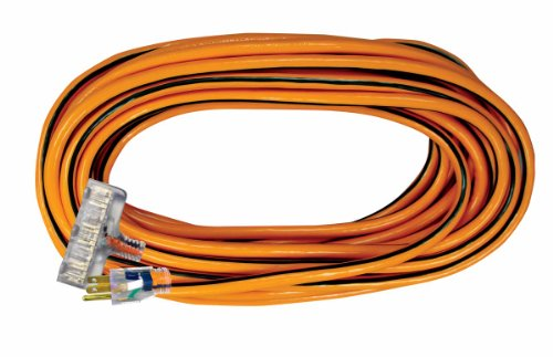 Voltec 05-00120 14/3 SJTW Outdoor Power Block Extension Cord with Lighted End, 25-Foot, Orange with Black Stripe by Voltec
