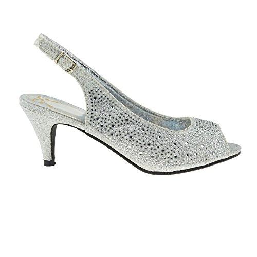 London Footwear - Zapatos con tacón mujer plata