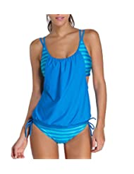 Nergivep Women Stripes Lined Push Up Tankini With Panty Two Piece Swimsuit